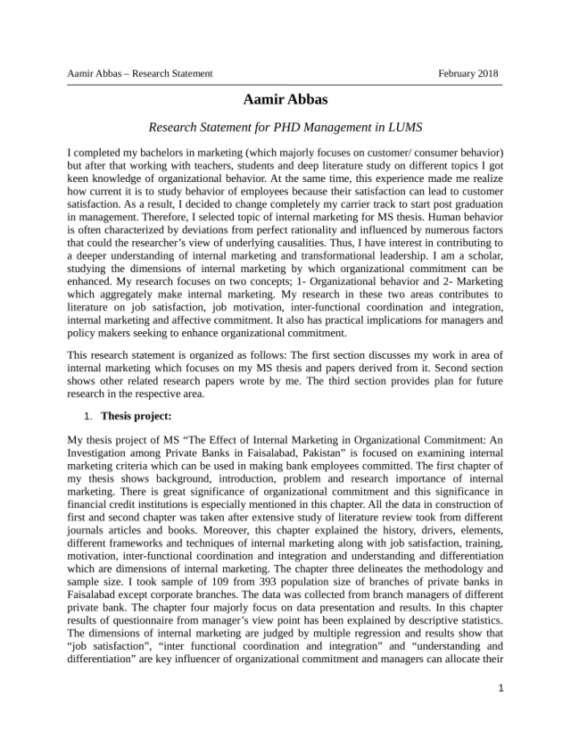 PDF) Research Statement Sample for PHD Managemen in Top Business