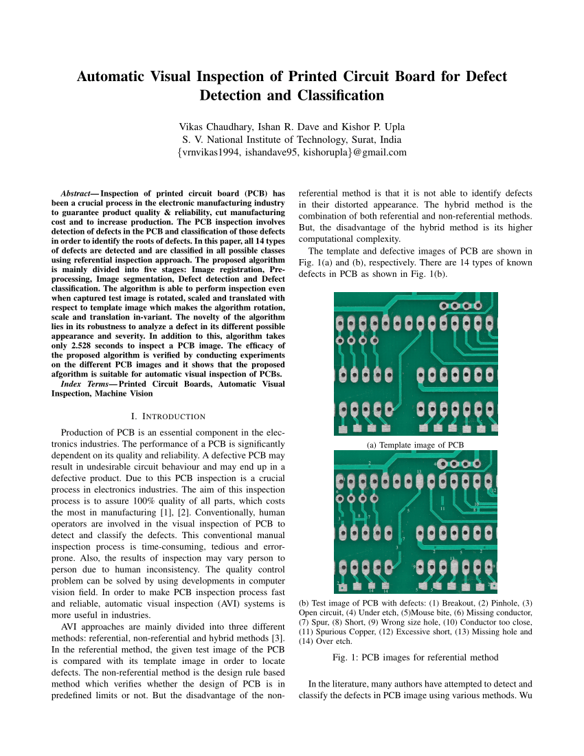 medium resolution of  pdf automatic visual inspection of printed circuit board for defect detection and classification