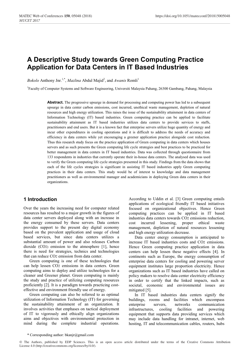 (Pdf) A Review On Green Computing For Eco-Friendly And Sustainable It
