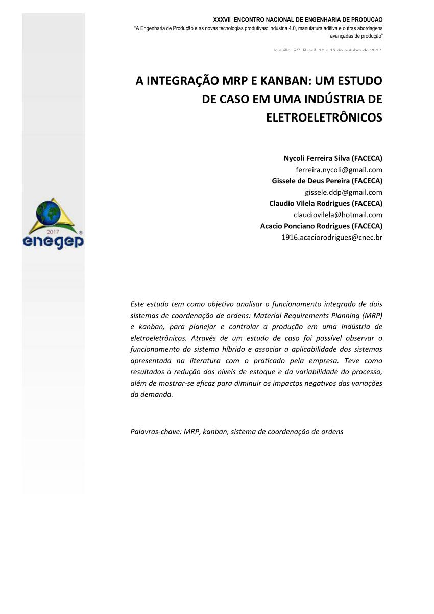 medium resolution of  pdf a integra o mrp e kanban um estudo de caso em uma ind stria de eletroeletr nicos