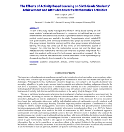 PDF) The Effects of Activity Based Learning on Sixth Grade Students'  Achievement and Attitudes towards Mathematics Activities [ 1202 x 850 Pixel ]