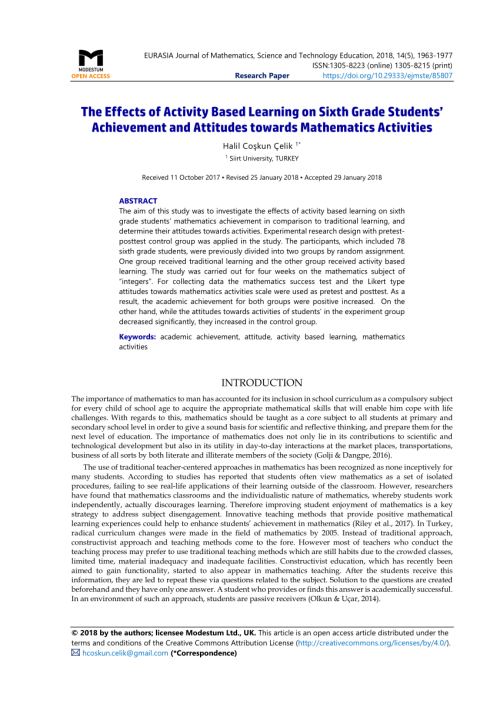 small resolution of PDF) The Effects of Activity Based Learning on Sixth Grade Students'  Achievement and Attitudes towards Mathematics Activities