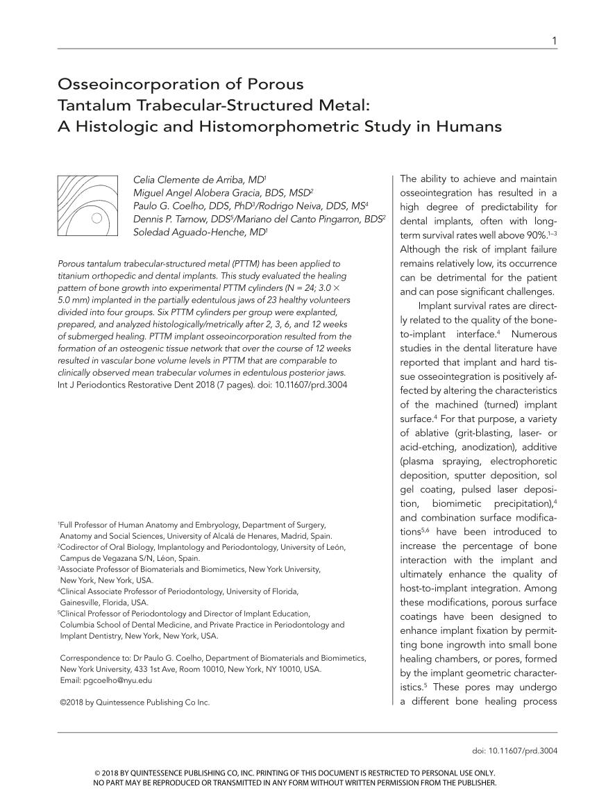 medium resolution of  pdf development and applications of porous tantalum trabecular metal enhanced titanium dental implants