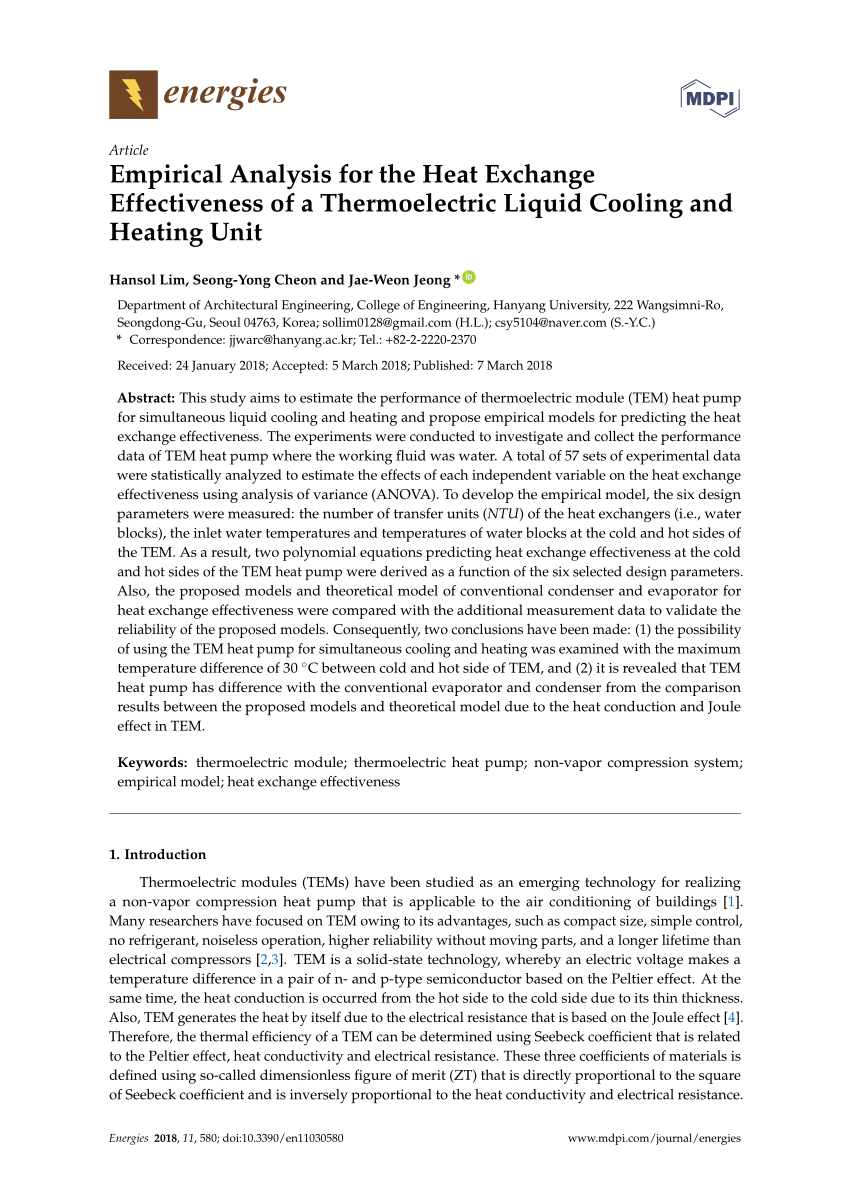 medium resolution of  pdf empirical analysis for the heat exchange effectiveness of a thermoelectric liquid cooling and heating unit