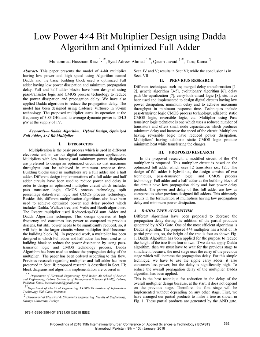 hight resolution of  pdf low power 4 4 bit multiplier design using dadda algorithm and optimized full adder