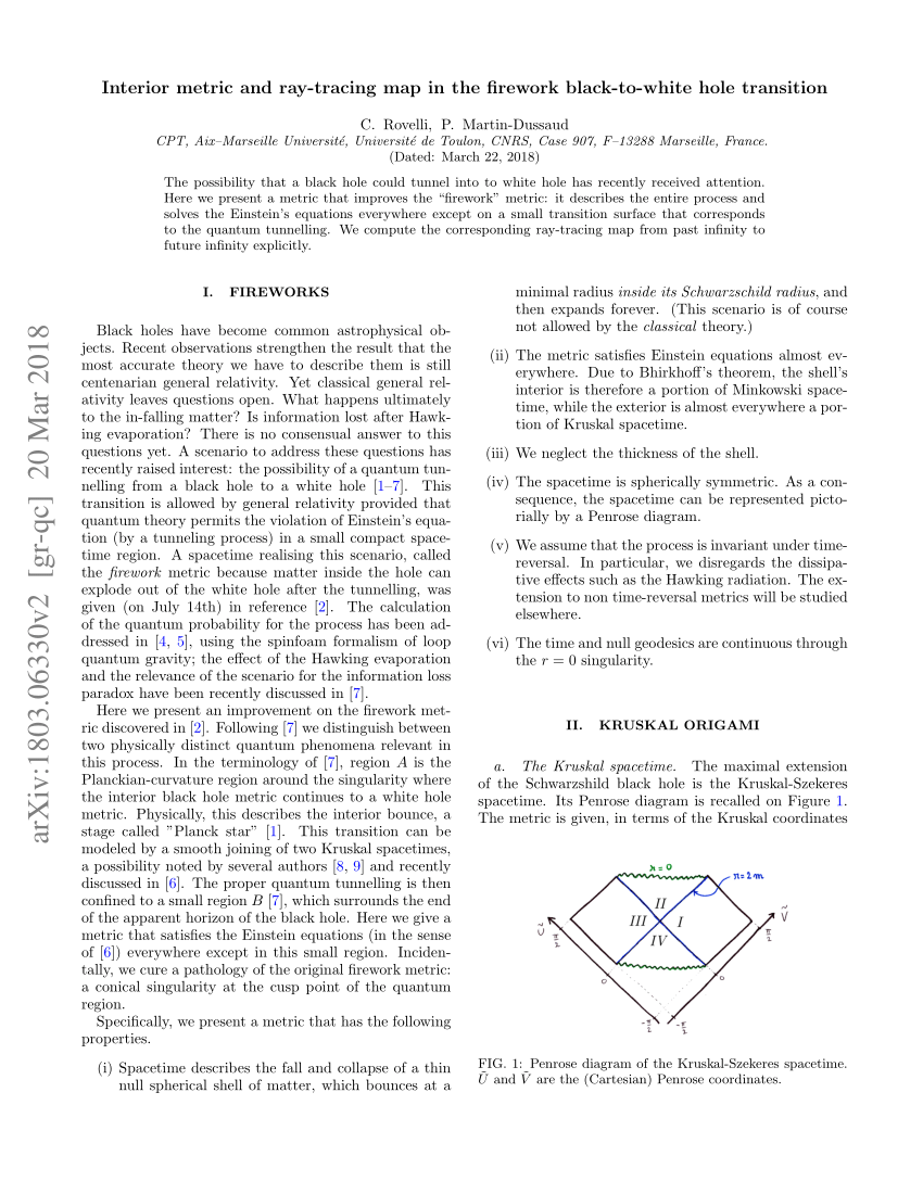medium resolution of  pdf interior metric and ray tracing map in the firework black to white hole transition