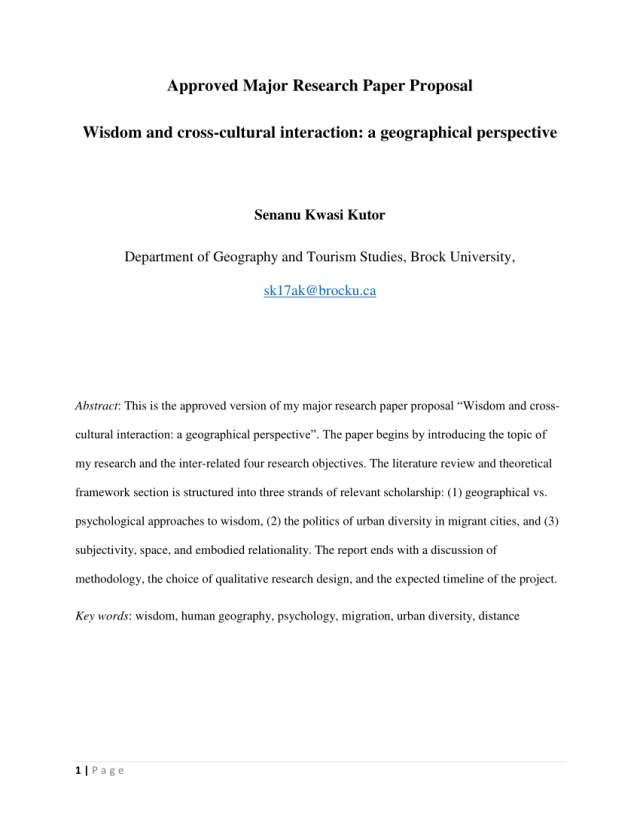 PDF) Approved Major Research Paper Proposal