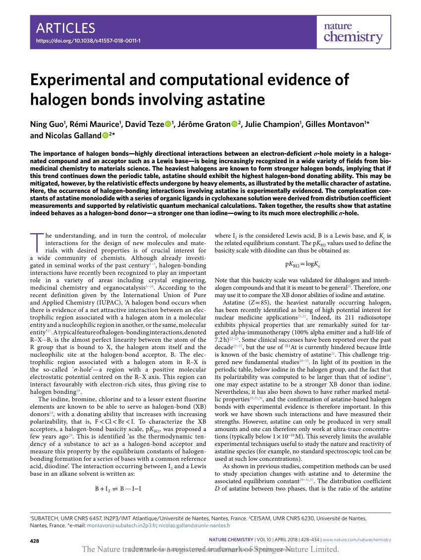 medium resolution of  pdf experimental and computational evidence of halogen bonds involving astatine
