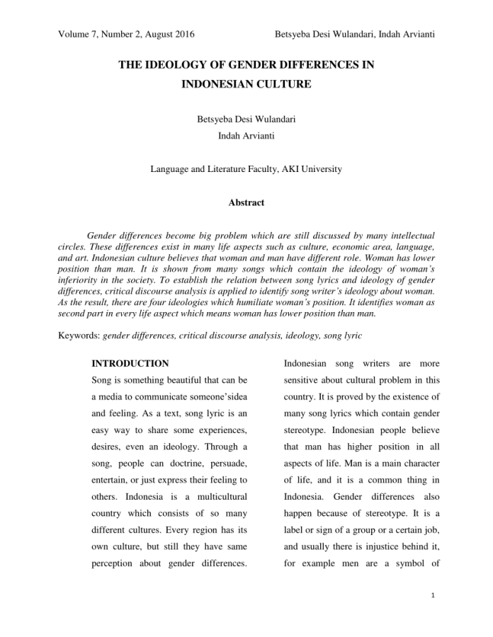 Pdf The Ideology Of Gender Differences In Indonesian Culture