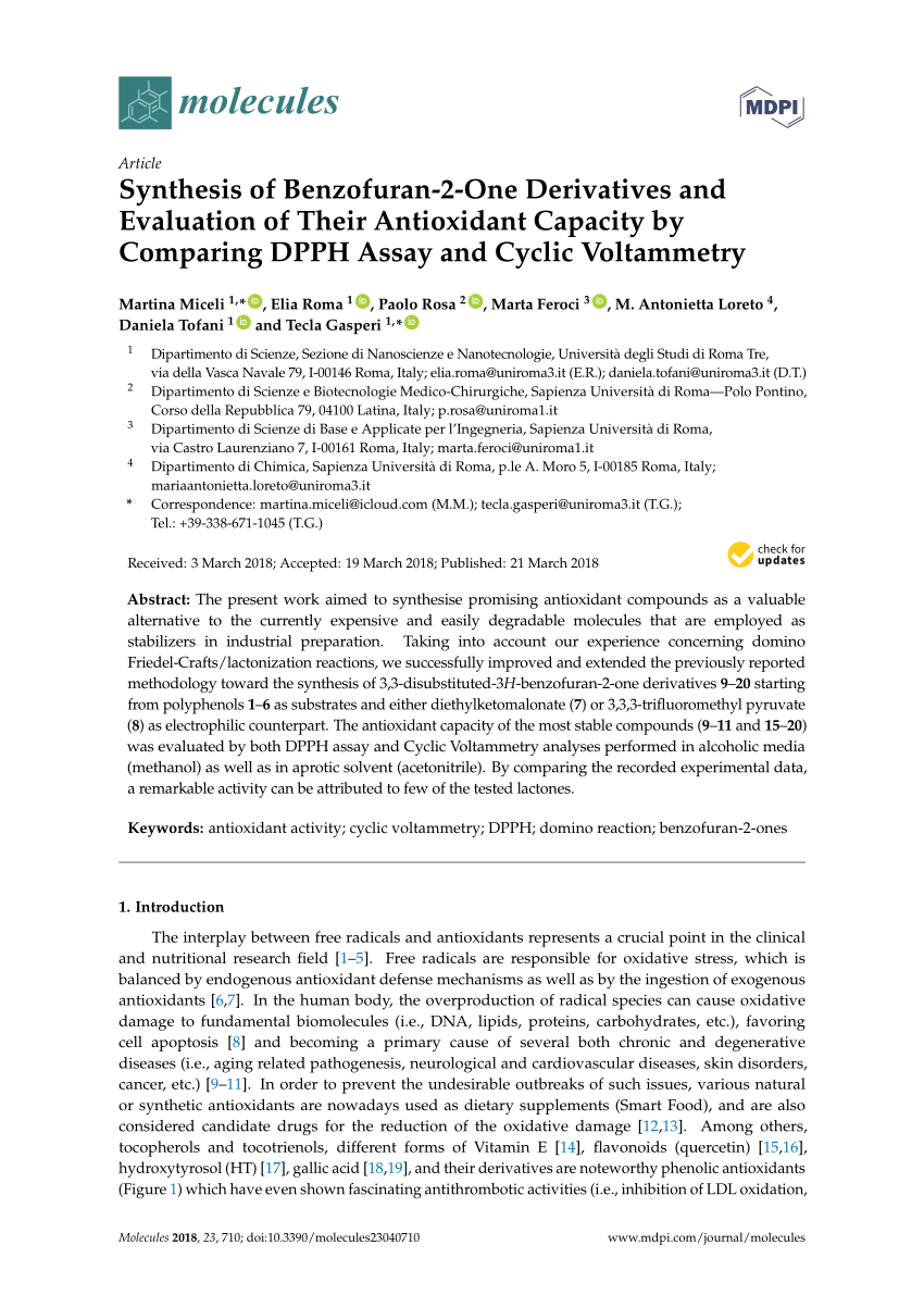 (PDF) Synthesis of Benzofuran-2-One Derivatives and Evaluation of Their Antioxidant Capacity by Comparing DPPH Assay and Cyclic Voltammetry