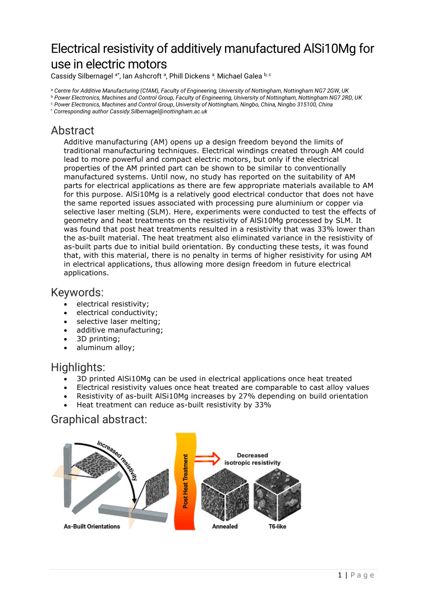hight resolution of  pdf electrical resistivity of additively manufactured alsi10mg for use in electric motors