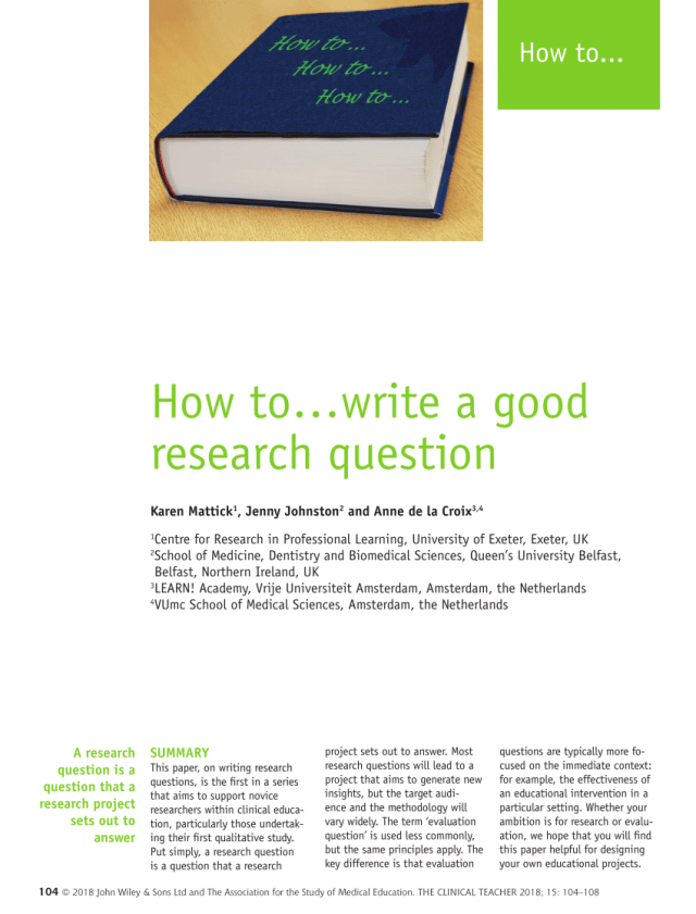 PDF) How towrite a good research question