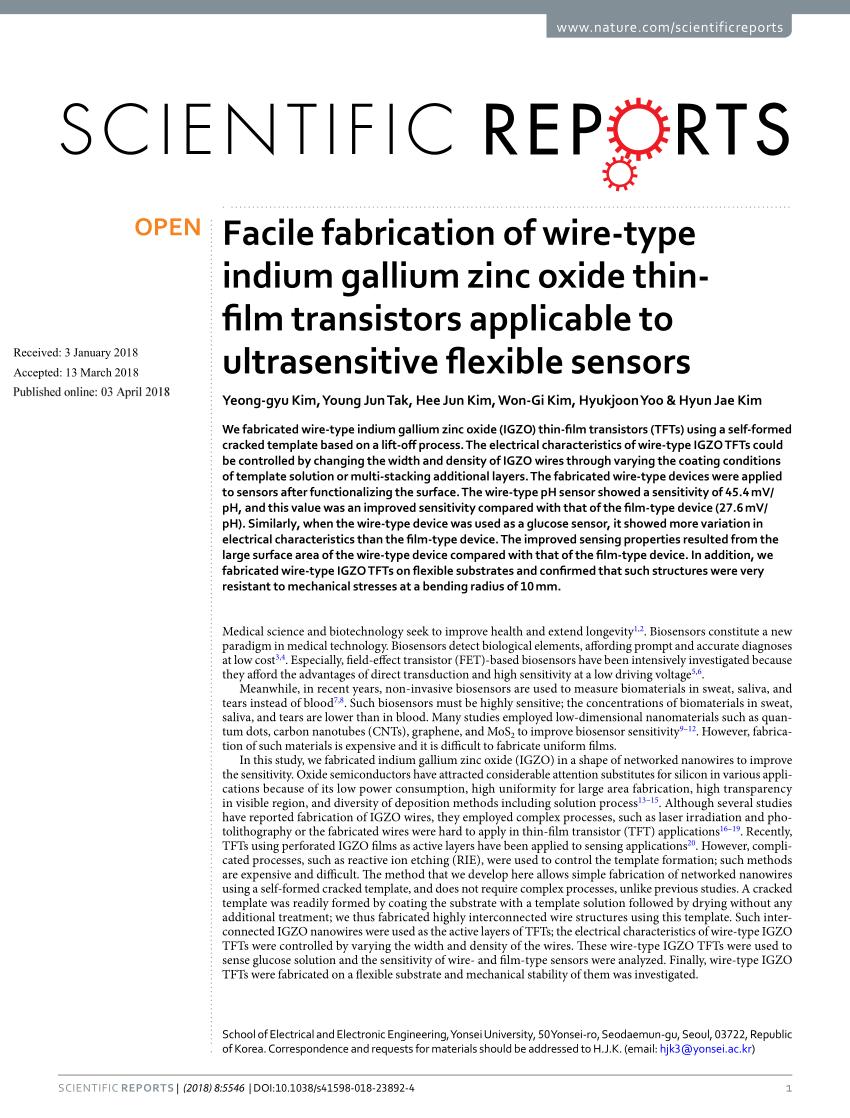 medium resolution of  pdf facile fabrication of wire type indium gallium zinc oxide thin film transistors applicable to ultrasensitive flexible sensors