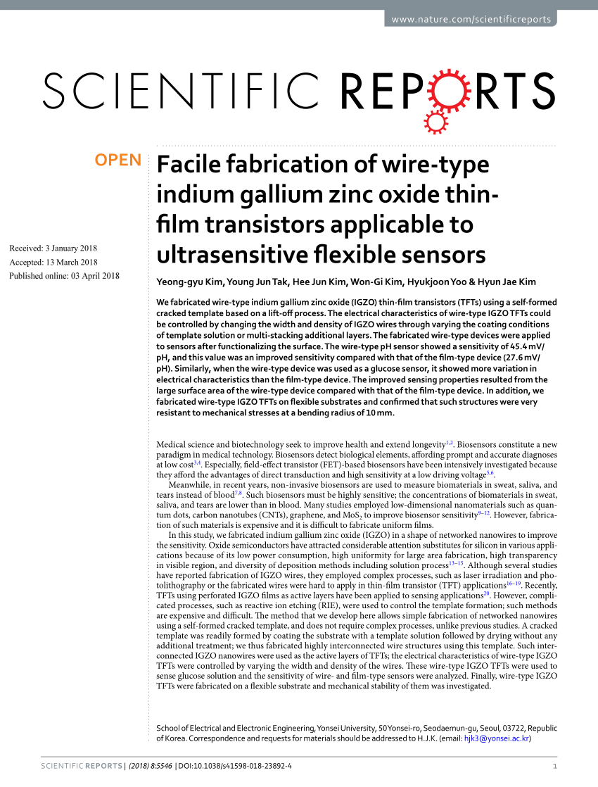 hight resolution of  pdf facile fabrication of wire type indium gallium zinc oxide thin film transistors applicable to ultrasensitive flexible sensors