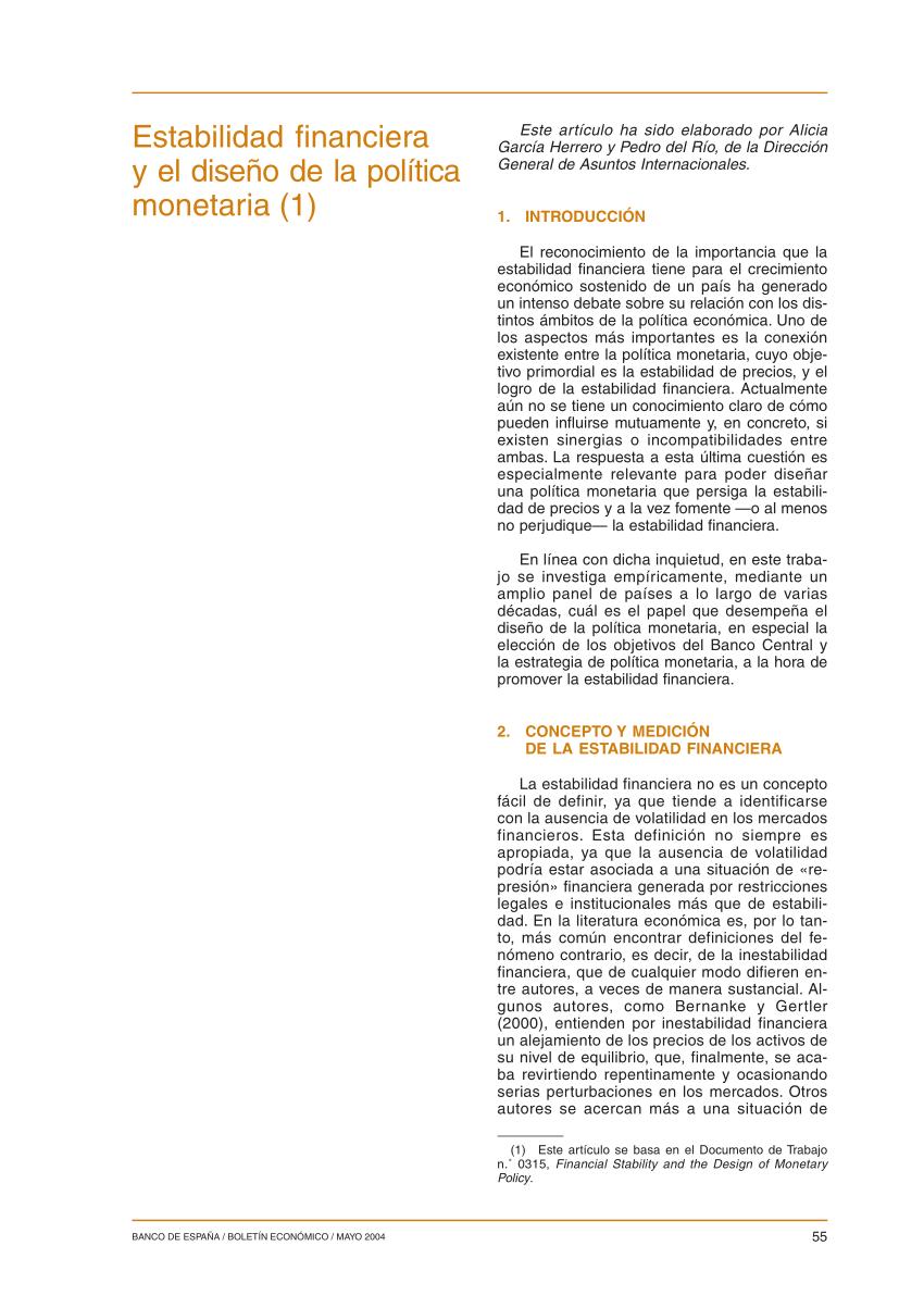 (PDF) Estabilidad financiera y el diseño de la política