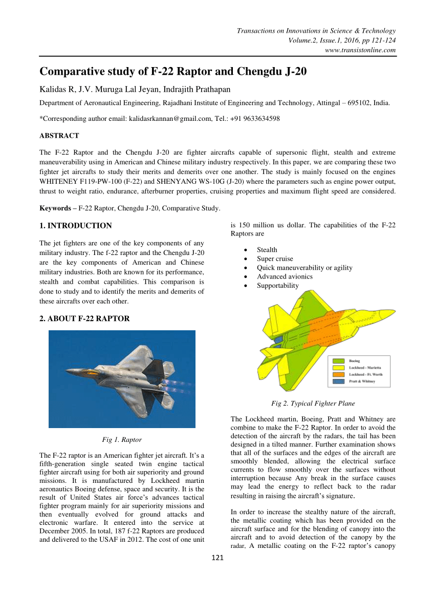 medium resolution of  pdf comparative study of f 22 raptor and chengdu j 20