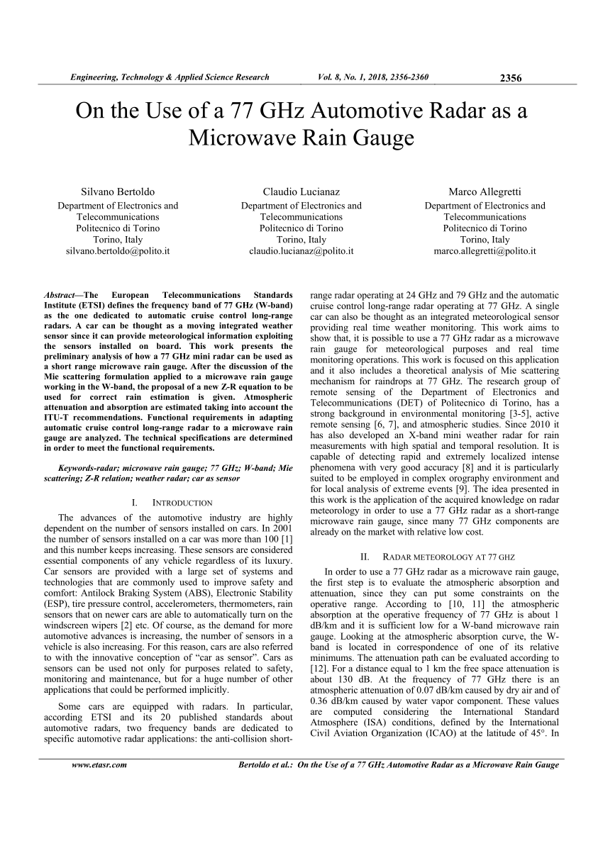 on the use of a 77 ghz automotive radar