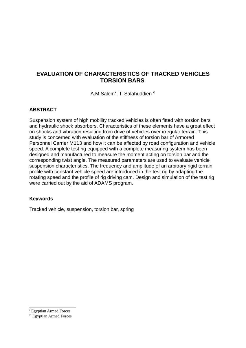 medium resolution of  pdf evaluation of characteristics of tracked vehicles torsion bars