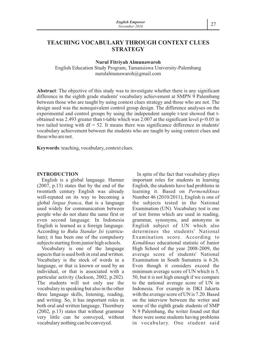 medium resolution of PDF) TEACHING VOCABULARY THROUGH CONTEXT CLUES STRATEGY