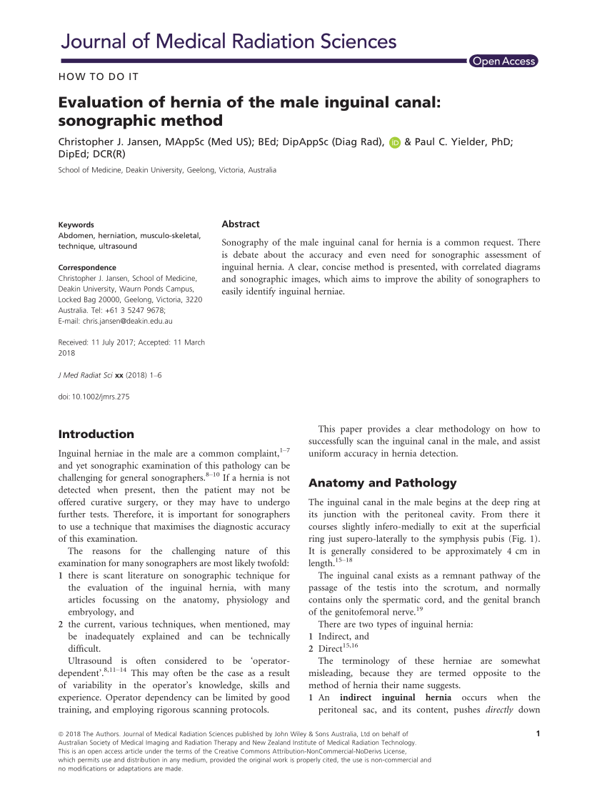 hight resolution of  pdf evaluation of hernia of the male inguinal canal sonographic method