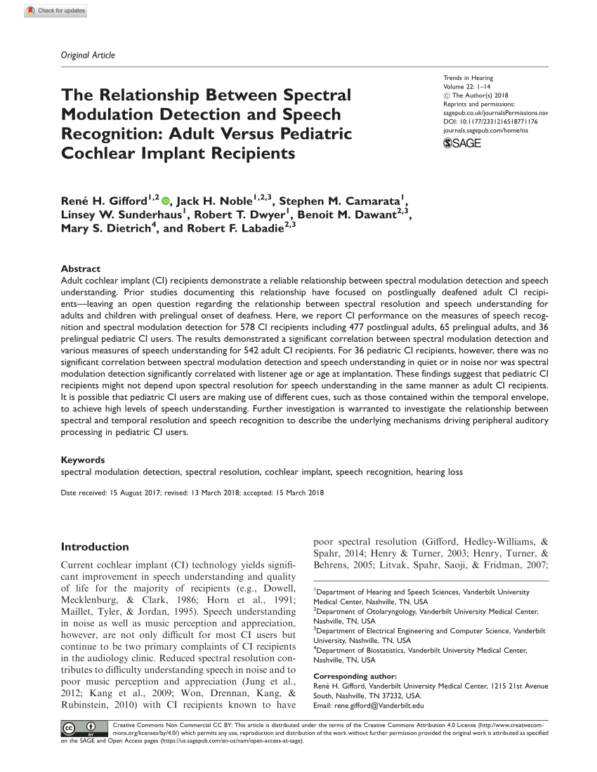 hight resolution of  pdf clinical assessment of spectral modulation detection for adult cochlear implant recipients a non language based measure of performance outcomes