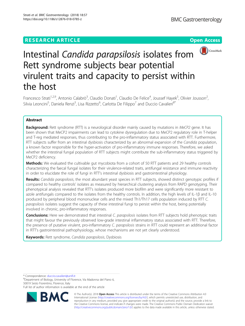 (PDF) Intestinal Candida parapsilosis isolates from Rett syndrome subjects bear potential virulent traits and capacity to persist within the host