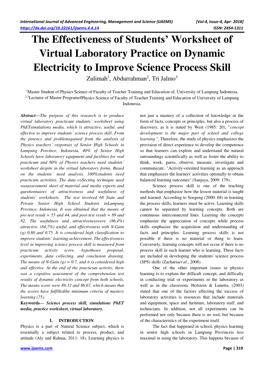 medium resolution of PDF) The Effectiveness of Students' Worksheet of Virtual Laboratory  Practice on Dynamic Electricity to Improve Science Process Skill
