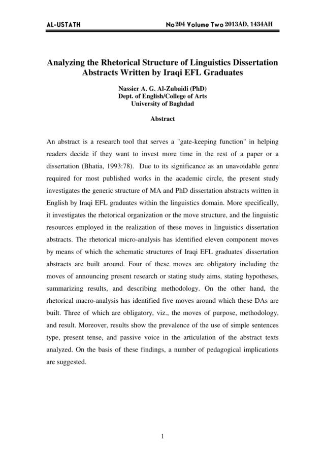 PDF) Analyzing the Rhetorical Structure of Linguistics