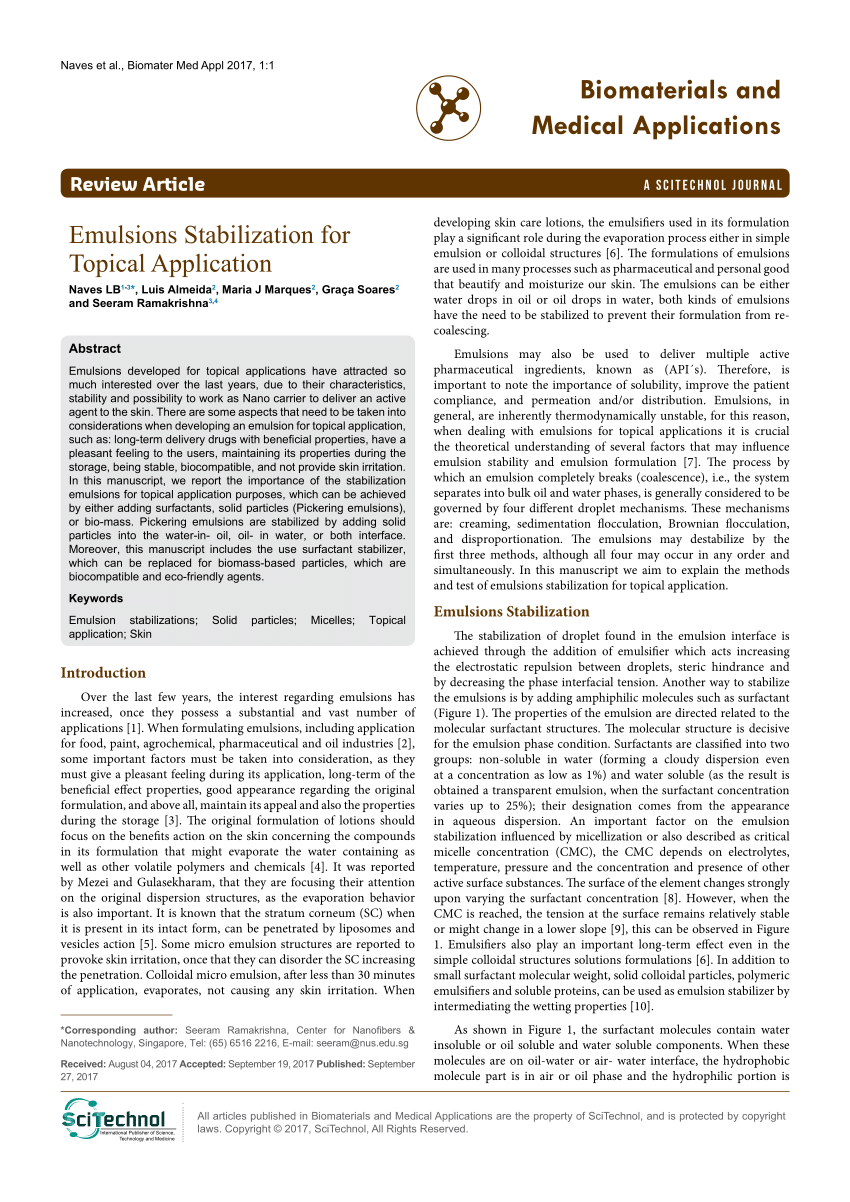 (PDF) Emulsions Stabilization for Topical Application