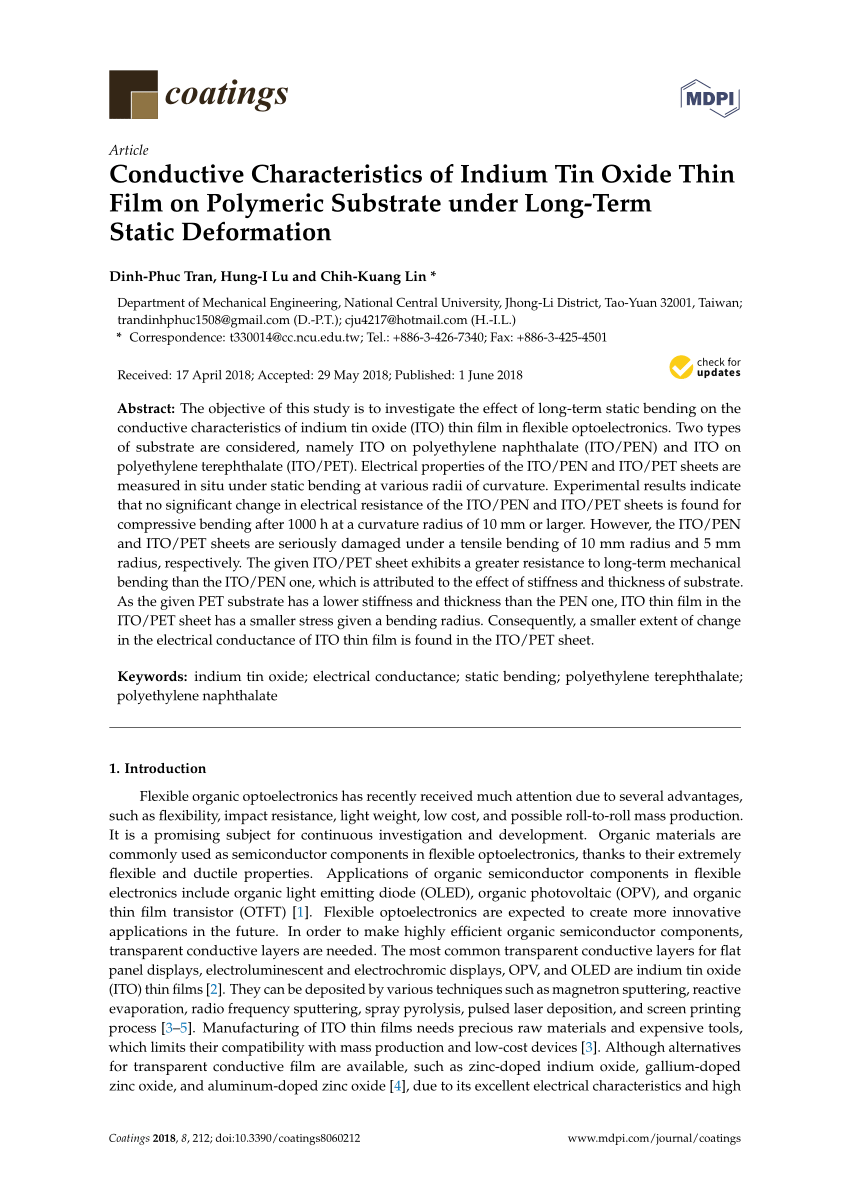 hight resolution of  pdf conductive characteristics of indium tin oxide thin film on polymeric substrate under long term static deformation