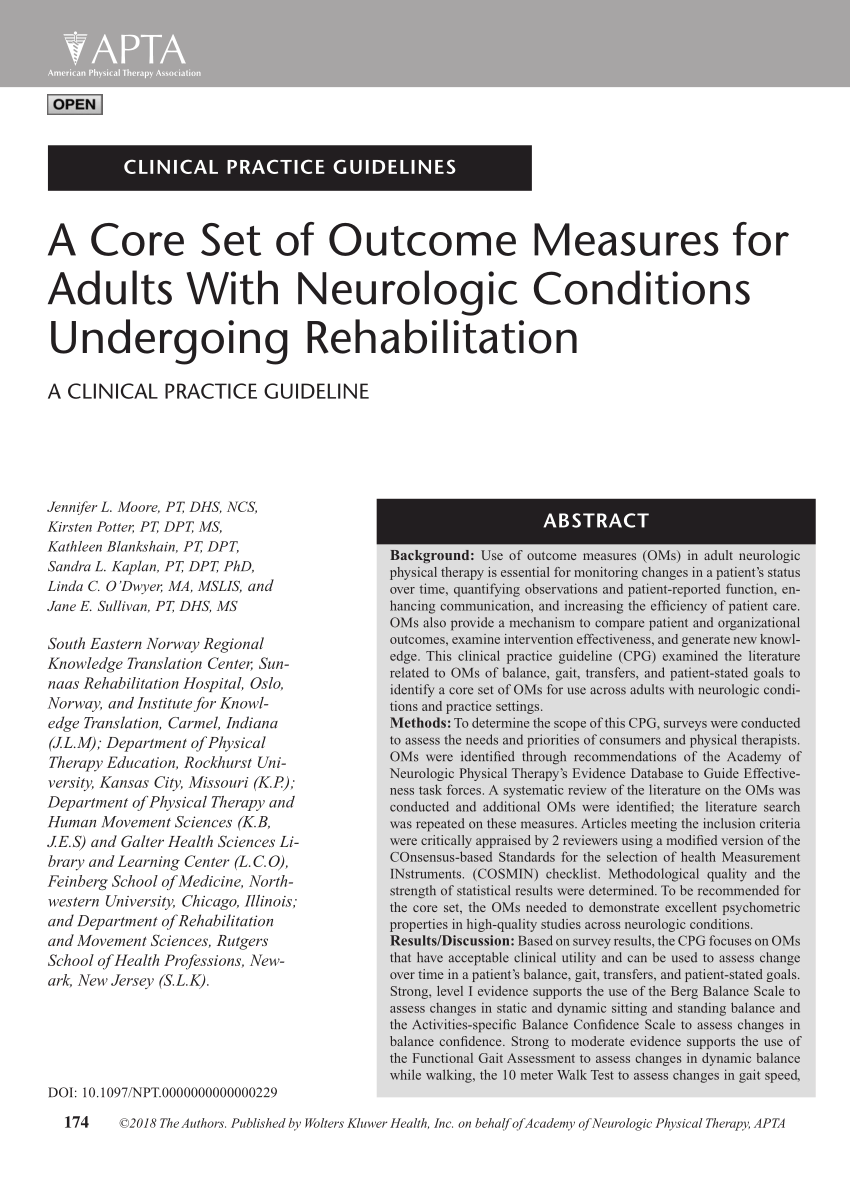 (PDF) A Core Set of Outcome Measures for Adults With