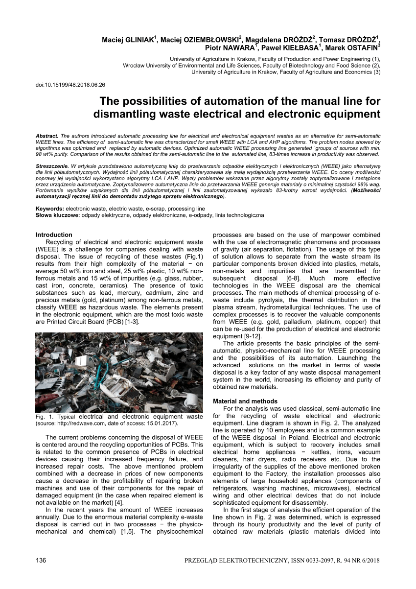 hight resolution of  pdf the possibilities of automation of the manual line for dismantling waste electrical and electronic equipment