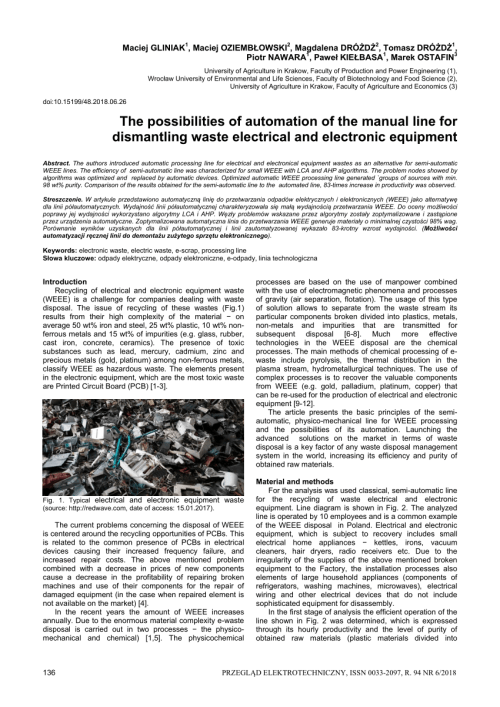 small resolution of  pdf the possibilities of automation of the manual line for dismantling waste electrical and electronic equipment