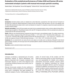 pdf evaluation of the analytical performances of cobas 6500 and sysmex un series automated urinalysis systems with manual microscopic particle counting [ 850 x 1181 Pixel ]