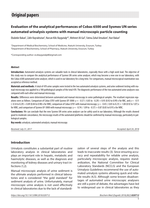 small resolution of  pdf evaluation of the analytical performances of cobas 6500 and sysmex un series automated urinalysis systems with manual microscopic particle counting