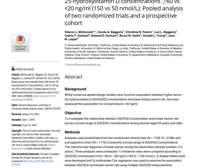 Vitamin D And Calcium Supplementation Reduces Cancer Risk Results Of A Randomized Trial Vol  2007