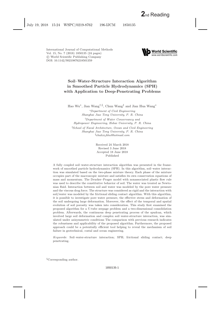 (PDF) Soil-Water-Structure Interaction Algorithm in