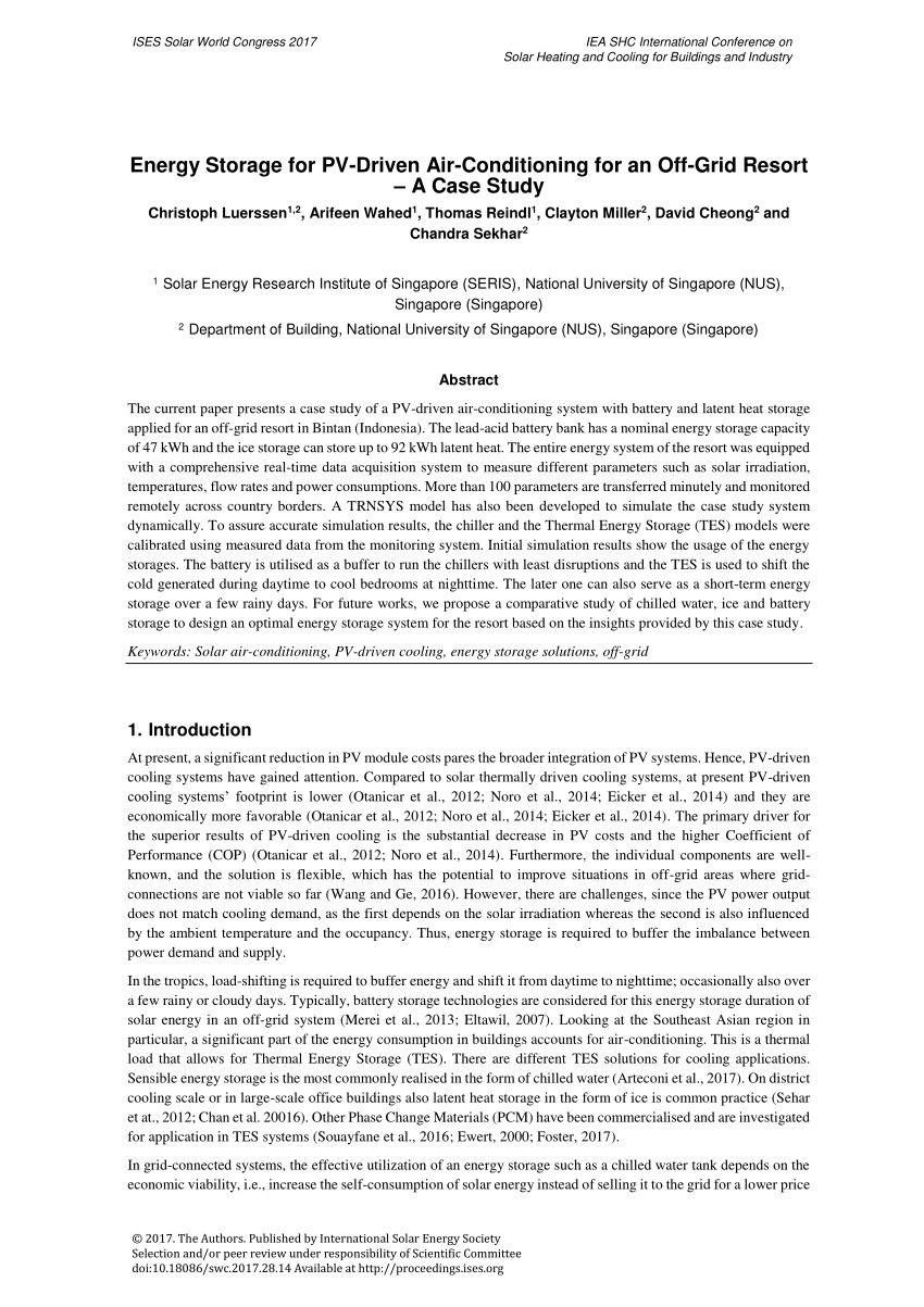 medium resolution of  pdf energy storage for pv driven air conditioning for an off grid resort a case study