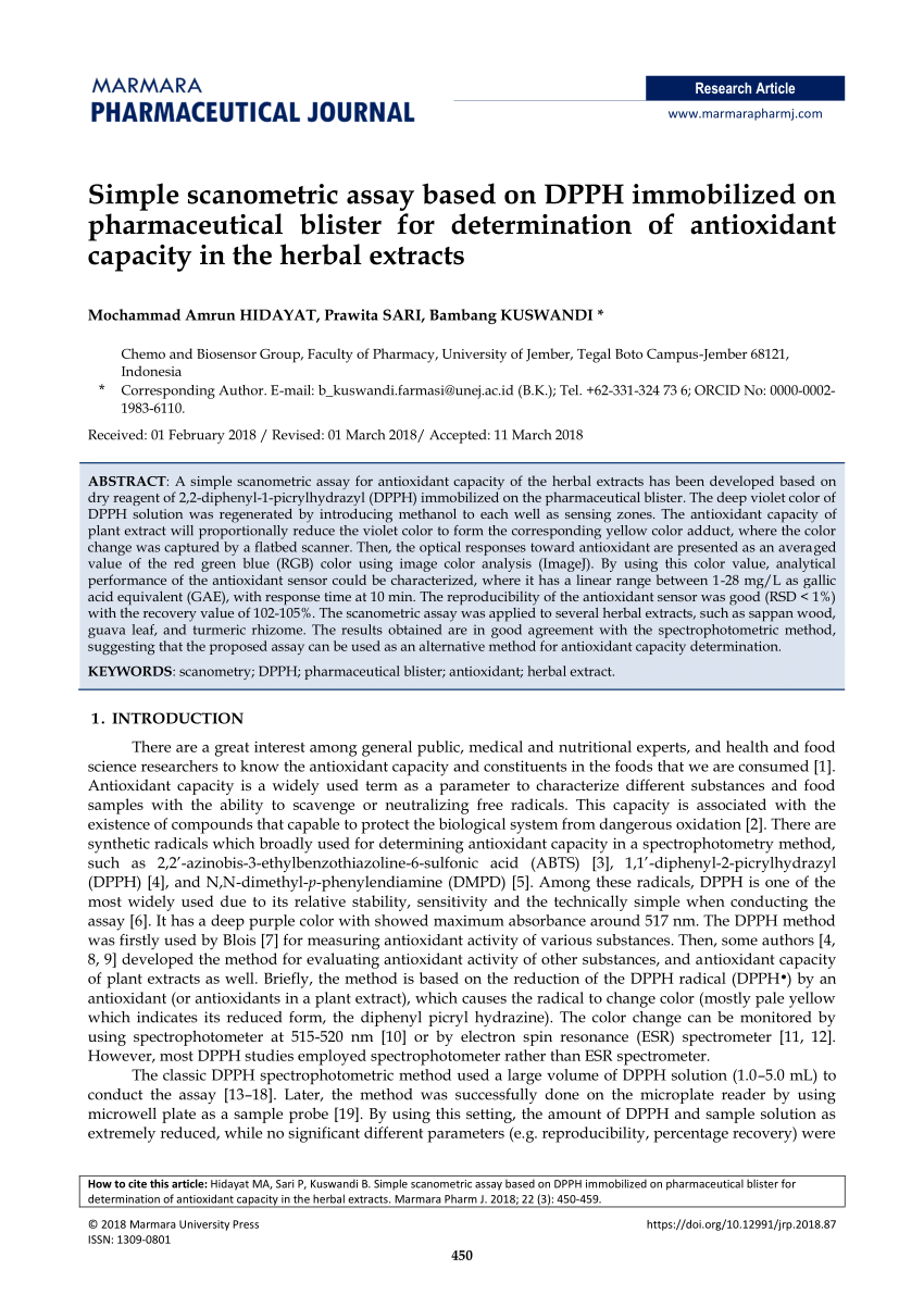 (PDF) Simple scanometric assay based on DPPH immobilized on pharmaceutical blister for determination of antioxidant capacity in the herbal extracts