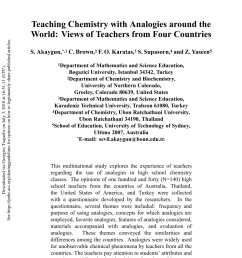 PDF) Teaching Chemistry with Analogies around the World: Views of Teachers  from Four Countries [ 1275 x 850 Pixel ]