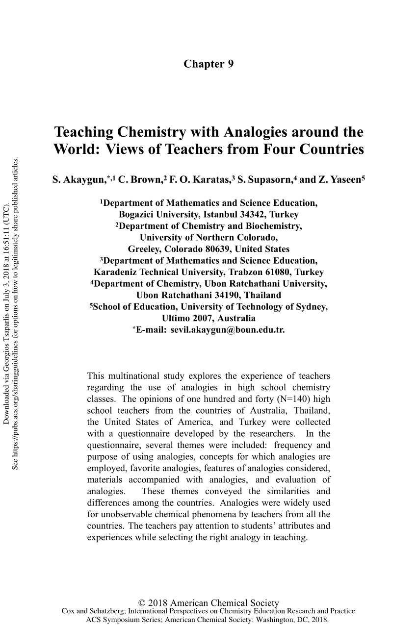 medium resolution of PDF) Teaching Chemistry with Analogies around the World: Views of Teachers  from Four Countries