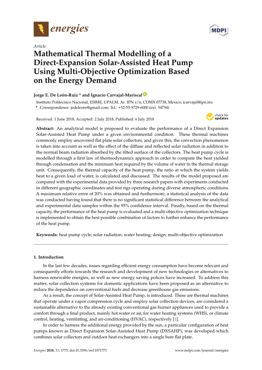 medium resolution of  pdf mathematical thermal modelling of a direct expansion solar assisted heat pump using multi objective optimization based on the energy demand