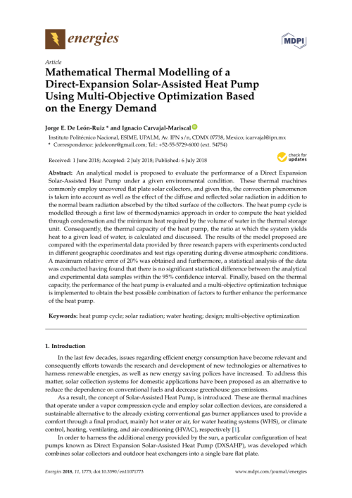 small resolution of  pdf mathematical thermal modelling of a direct expansion solar assisted heat pump using multi objective optimization based on the energy demand