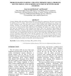PDF) Problem-based learning: Creative thinking skills [ 1202 x 850 Pixel ]