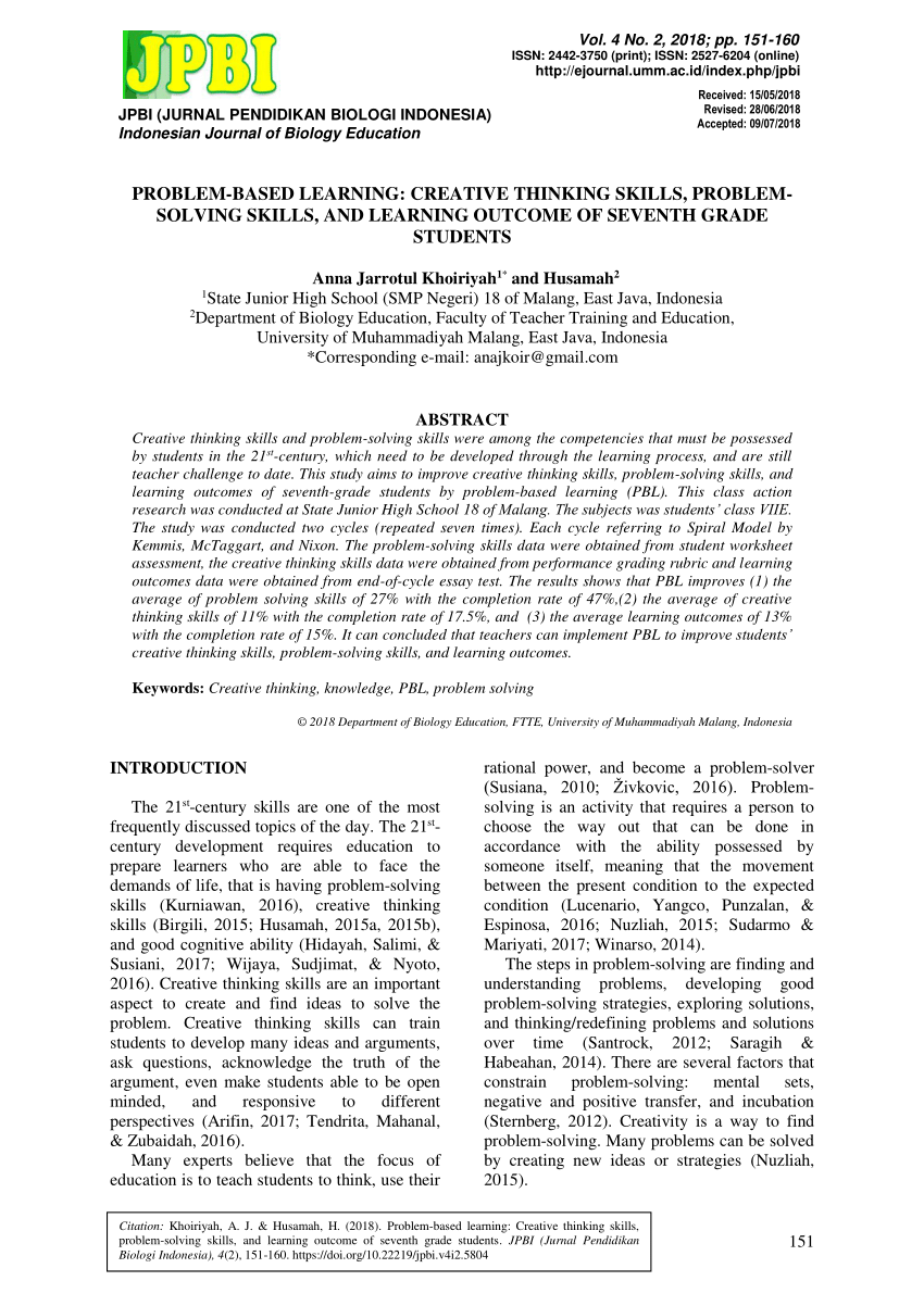 medium resolution of PDF) Problem-based learning: Creative thinking skills