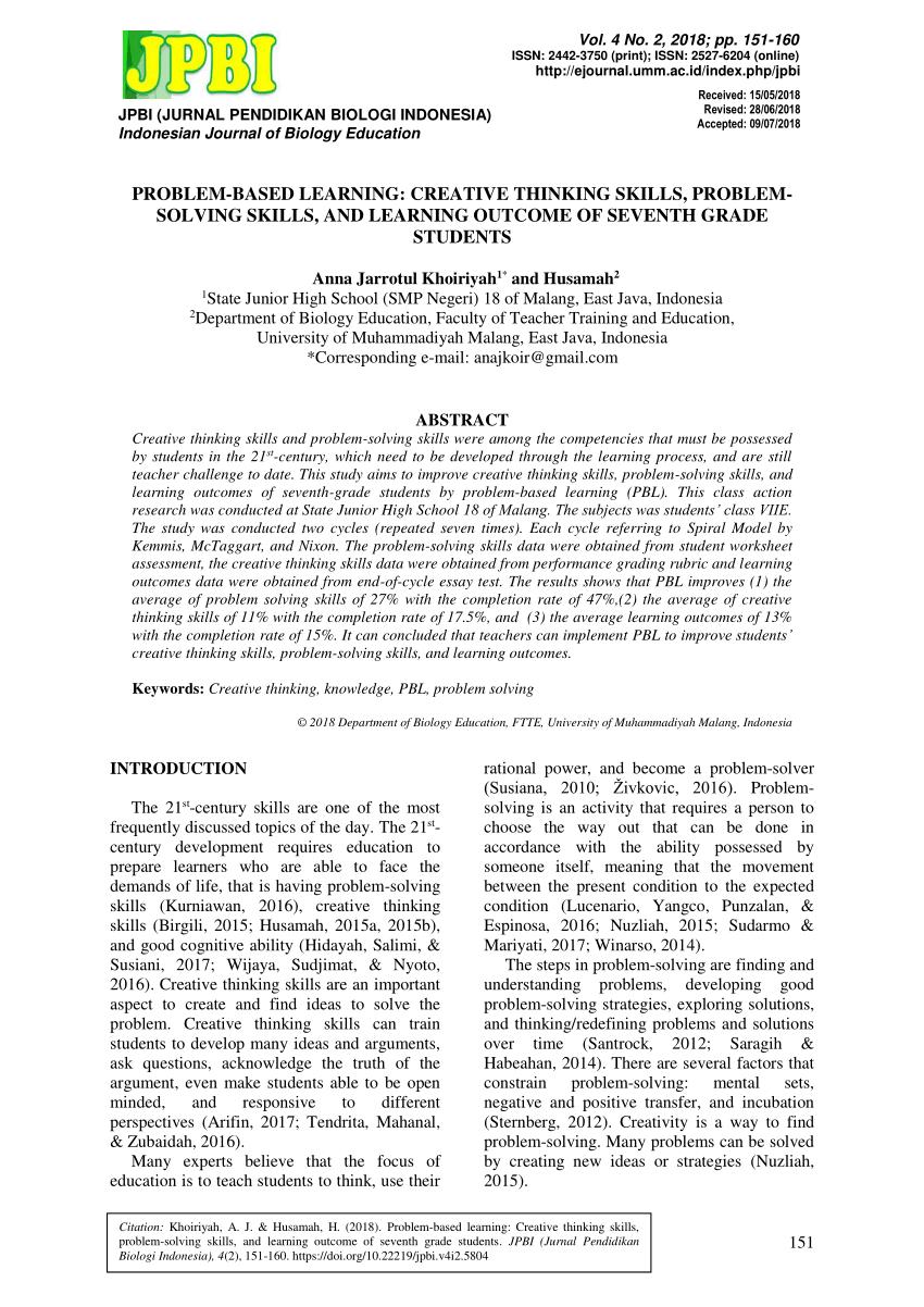 hight resolution of PDF) Problem-based learning: Creative thinking skills