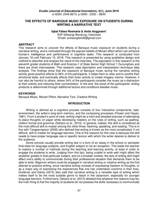 PDF) THE EFFECTS OF BAROQUE MUSIC EXPOSURE ON STUDENTS DURING
