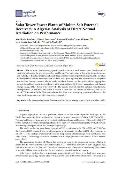 small resolution of  pdf solar tower power plants of molten salt external receivers in algeria analysis