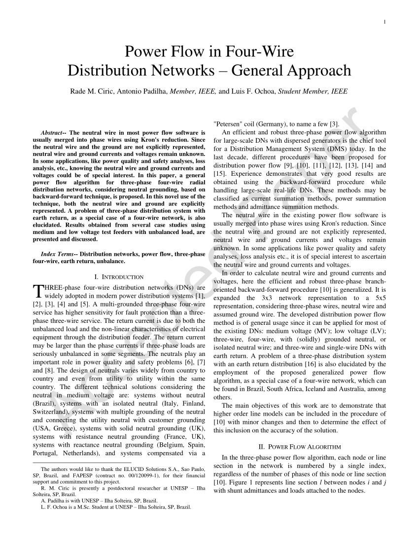 hight resolution of  pdf power flow in four wire distribution networks general approach