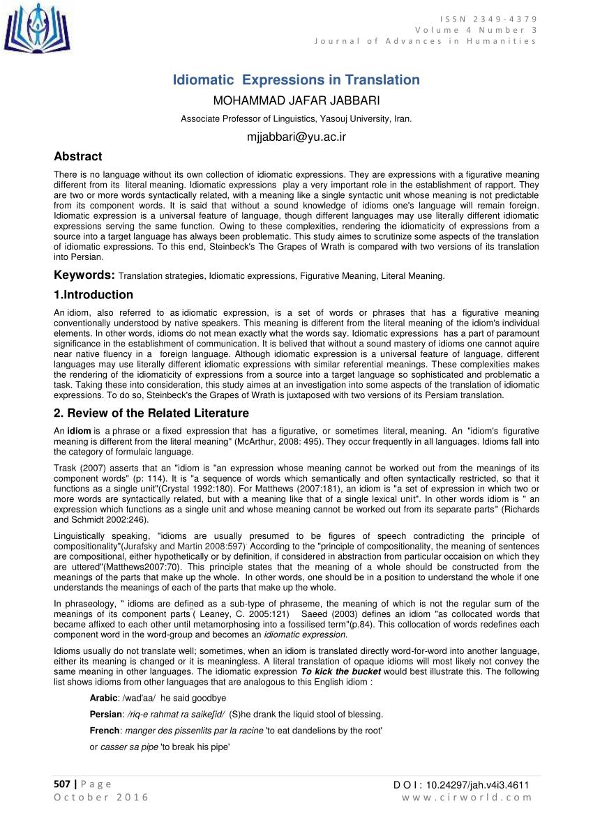 (PDF) Idiomatic Expressions in Translation